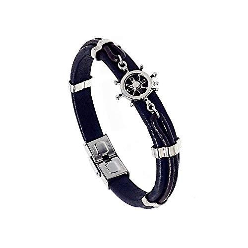 Armband Edelstahl Glattleder Ruder [AB9711]