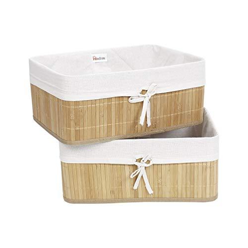 HomeStorie® Eco-Friendly Foldable Natural Bamboo Storage Basket Bins Organizer, Pack of 2