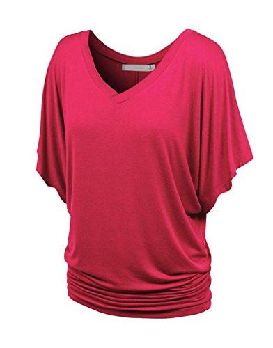 NiSeng Damen V Ausschnitt Shirring T-Shirt Kurzarm Falten Volant Dolman Ärmel Einfarbig Tunika Beiläufiges Tops Rose Rot