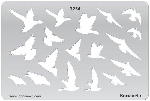 15cm x 10cm Normographe Plastique Transparent Trace Gabarit de Dessin Conception Graphique Art Artisanat Fabrication Bijoux Illustration - Oiseaux