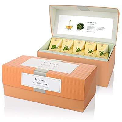 Tea Forte Citrus Mint Coffret Infusion 20 pyramides - Citrus Mint Herbal Tea Presentation Box with 20 Handcrafted Pyramid Tea Infusers by Tea Forté