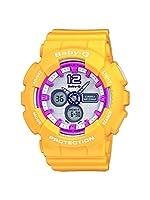 CASIO BABY-G BA-120-9BER - Reloj analógico de cuarzo con correa de resina para mujer, color naranja/blanco de Casio