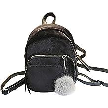 Mochila, Manadlian Mujeres sólidas Mini mochila de piel Bolso de moda Bolsas de viaje para niñas (19*8*21cm, Negro)
