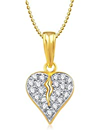 Valentine Gifts Meenaz Heart Pendant With Chain Gold Plated For Girls And Women PS177