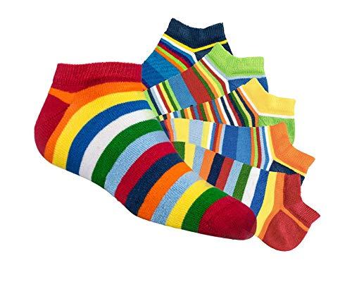 Laake 6 Paar Kinder Sneaker Socken Jungen und Mädchen handgekettelt Spitze besonders weiche Baumwolle Ringel (Ringel, 39-42)