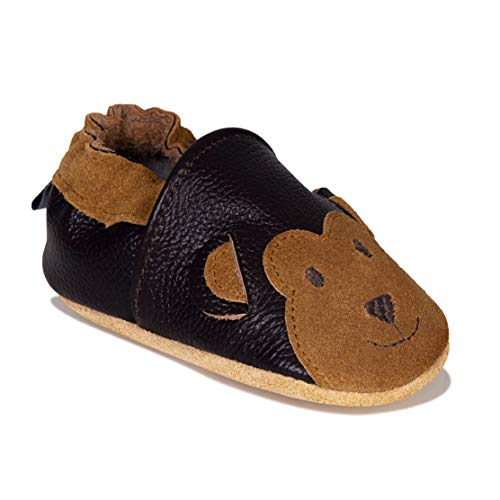 HMIYA Weiche Leder Krabbelschuhe Babyschuhe Lauflernschuhe mit Wildledersohlen für Jungen und Mädchen(12-18 Monate,Braun)