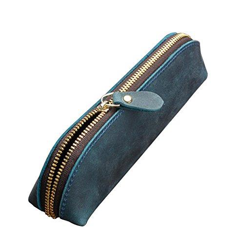 Fyore lusso astuccio vera pelle piccolo sacchetta design cerniera in metallo per scuola università adulti (blu)
