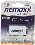 1x Nemaxx Lithium 9V Block Batterie für Rauchmelder 10 Jahre Lebensdauer