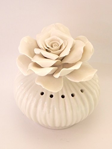Profumatore ambiente white rose - bomboniera matrimonio - porcellana capodimonte visconti