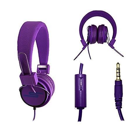 Casque audio stéréo violet Extra-Bass Clear Sound avec fonction micro