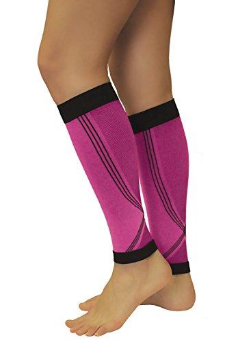 Tonus Elast 1 Paar Rosa/Pink Wadenbandage, Kompression Stulpen, Calf Sleeves, Sport Strümpfe, Waden Kompressionsstrümpfe (Rosa/Pink, L (Körpergröße 158-170 cm))
