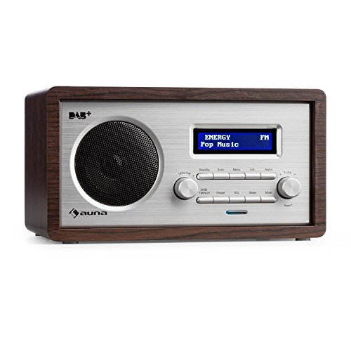auna Harmonica • Digitalradio • Radiowecker • Retro Design • Nostalgie Look • DAB+ / UKW-Radiotuner • automatische / manuelle Sendersuche • LCD-Display • RDS • Datum- und Uhrzeit-Anzeige • AUX-Eingang • Sleep-Timer • Snooze • Holzgehäuse • dunkelbraun