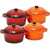 COM-FOUR® 4x Auflaufform mit Deckel, Pastetenförmchen aus Keramik, Creme Brulee Schälchen in orange und rot, 300 ml je Form (04 Stück - 300 ml Auflaufform Farbmix)