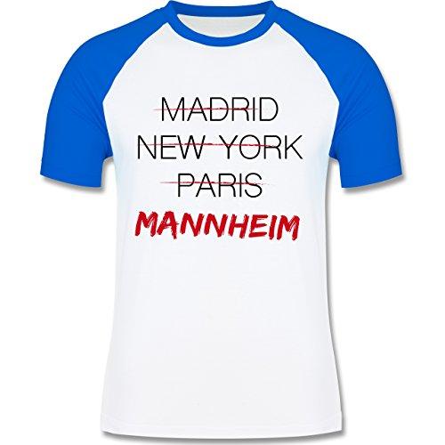 Städte - Weltstadt Mannheim - zweifarbiges Baseballshirt für Männer Weiß/Royalblau