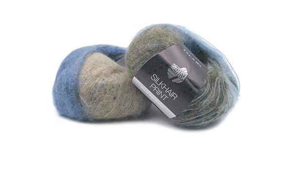 50 g Silkhair Print 361 pfirsich//flieder//altrosa. Wolle Kreativ Lana Grossa