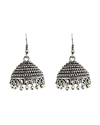 Young & Forever Tribal Muse Collection Splendid Brass Jaipur Jewels Antique Silver Intricately Designer Handmade Oxidized Earrings for girls jumkha earrings oxidized earrings black metal earrings jhumki earrings for women by CrazeeMania (E60373)