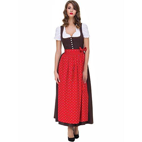 Almbock Dirndl Lang Elena braun mit roter Schürze in Gr. 36 38 40 42 44 46 - Klassisches Trachten-Kleid, Rock-Länge 95cm