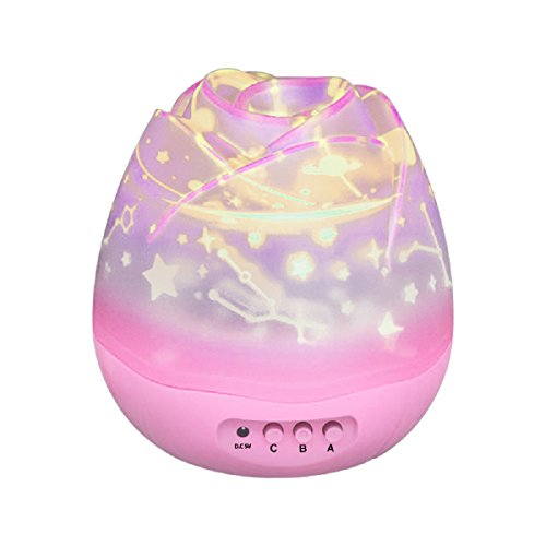 Stern LED Nachtlicht Mond Lampe, Fetta Weihnachtsgeschenk Beleuchtung 360 Grad Romantische Lampe mit USB für Kinderzimmer,Schlafzimmer, Geburtstag und Kinder Weihnachten Geschenk (A rosa)