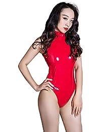 Body Femme Lingerire Femmes sans manches col roulé brillant métallisé Body  en cuir verni Lingerie Zipper f84ca8b8294