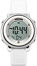 Childens relojes reloj deportivo con cronómetro y 7LED retroiluminación función tiempo maestro azul & blanco & verde correa de silicona de niños niñas watch-white