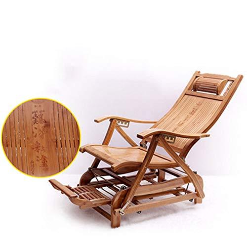 HUIFA Bambus Recliner Klappstuhl Schaukelstuhl Erwachsenen Sessel Freizeit Kühlen Stuhl Alten Mittagspause Siesta Stuhl Rückenlehne Bett (Farbe : A) (Outdoor-schaukelstuhl Klappstuhl)