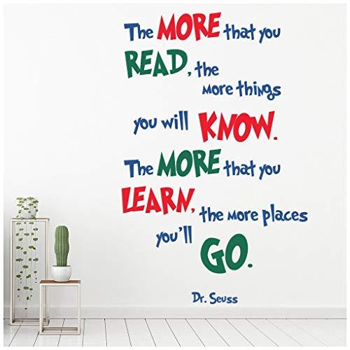 azutura Je mehr Sie lesen Dr. Seuss Zitat Wandtattoo in 8 Größen erhältlich Digital (Dr. Seuss Lesen Wandtattoos)