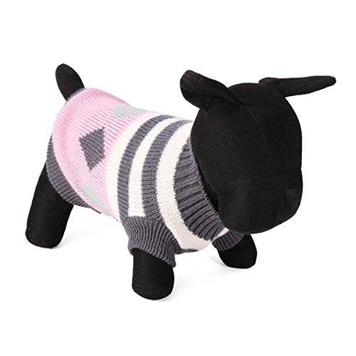 Tutoy Streifen-Rhombus-Haustier-Hund Strickte Breathable Strickjacke Outwear Kleid (Für Kostüme Niedliche Meerschweinchen)