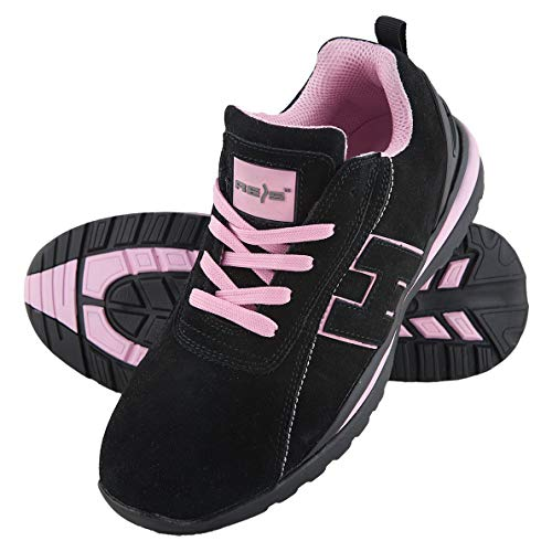 Scarpe da lavoro scarpe antinfortunistica Argentina, taglia 36 – 41, Scarpe antinfortunistica, scarpe da donna punta in acciaio., nero (Schwarz-Pink), 38