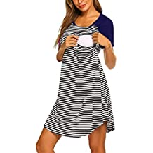 STRIR Camisón Lactancia Pijama Embarazada Algodón Ropa para Dormir Premamá Encaje Manga Corta Hospital Primavera Verano