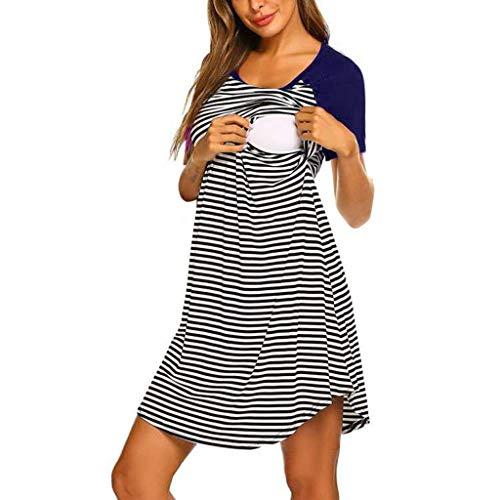 STRIR Camisón Lactancia Pijama Embarazada Algodón Ropa para Dormir Premamá Encaje Manga Corta Hospital Primavera Verano otoño (M, Armada#0409)