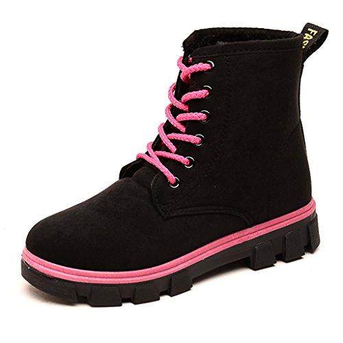 Frauen Martin Stiefel Lace up Kragen Pelz Gefüttert Winter Warme Weiche Schuhe Mode Damen Knöchel Schnee Stiefel Größe Schwarz 36
