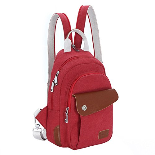 Fox gufo retro Satchel Borsa a tracolla/zaino pratico Outdoor Walker Borsa escursionisti, Red mustache Red multifunction