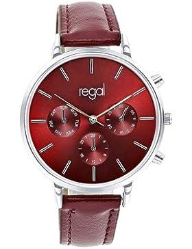 Lucardi - Regal - Regal-Armbanduhr mit rotem Band R2045-138 für Damen - Edelstahl