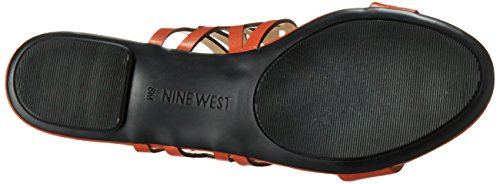 Nine West Jumprope Robe en cuir Sandale Red/Orange