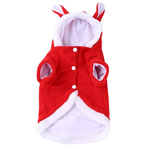 (HENGSONG Cute Rabbit Kleidung Pet Plüsch Outfit Kostüm für Kleine Hunde Katzen Frühling Winter Jumpsuit Mantel, rot XS)