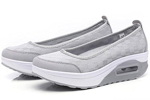 gfone Damen Mesh Weave Classics Schuhe Casual Sommer Keil Plattform loafer Sneakers Sandalen Boot AIR Laufschuh Lapsus atmungsaktiv Grau