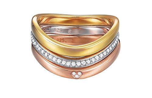 Esprit Damen-Ring JW50011 925 Silber rhodiniert Zirkonia weiß Rundschliff