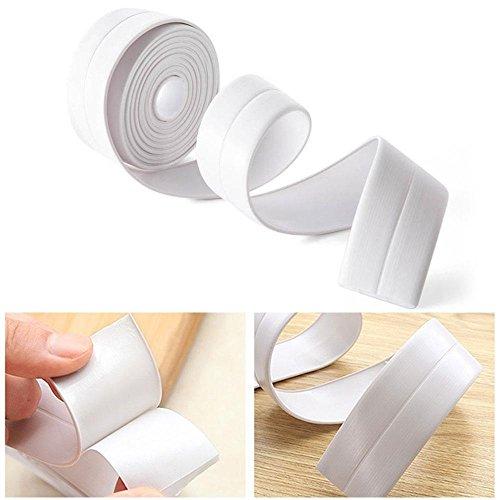 Leegoal Dichtungsband für Wanne und Wand, Polyethylen, selbstklebend, wasserfest, Dichtungsband für Dusche, WC, Badewanne, Wand, 38 mm Breite x 3,2 m Länge (weiß) weiß -