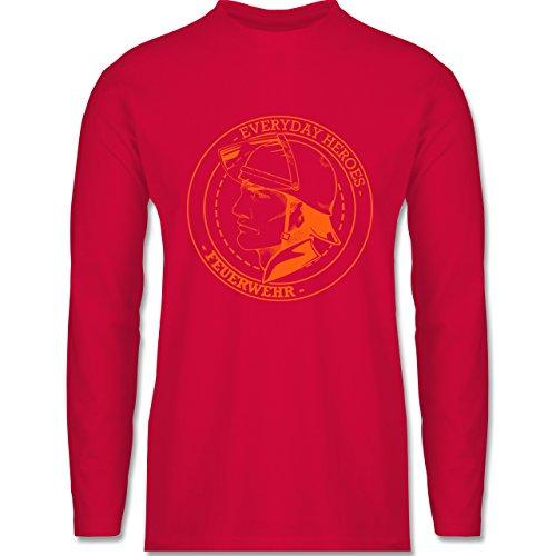 Shirtracer Feuerwehr - Everyday Heroes Badge - Herren Langarmshirt Rot