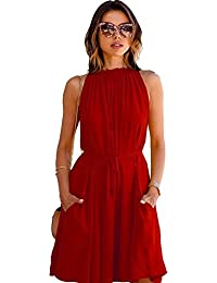 Morang Women's Western Wear American Crepe A-Line Dress (MM-9840,Maroon, Medium)