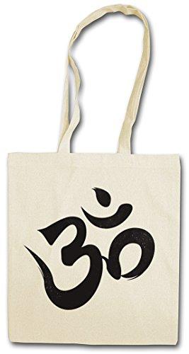OM SIGN LOGO Hipster Shopping Cotton Bag Borse riutilizzabili per la spesa - Dio Ganesha Shiva Buddha Govinda Buddhism India buddismo