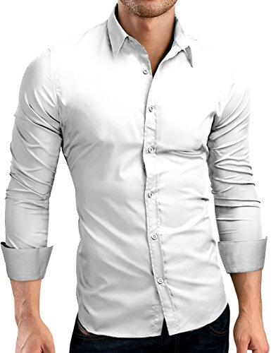 7fdf612a7f08 Grin Bear Slim Fit Hemd Herrenhemd, Langarm, Weiss, M, SH500