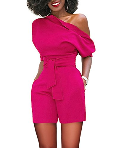 FeelinGirl Manica Corta da Donna Sexy off One Shoulder Salopette Gamba Larga Clubwear