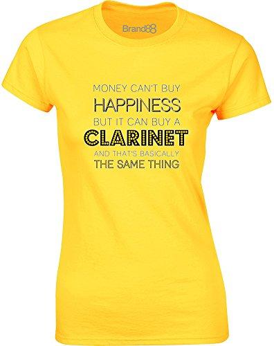 Brand88 - Money Can Buy A Clarinet, Gedruckt Frauen T-Shirt Gänseblümchen-Gelb