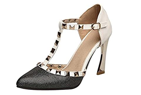 Brauqueen Pompes T-Strap Ankle Strap Rivets Stiletto Heel Hollow Elegant Pointed-toe Femmes Souliers Casual Europe Standard Taille 32 33 34-43 , pink , 38