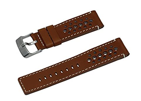 22mm Cognac Vintage Italian Leather Rally Style Watch Band With Brushed Stainless Steel Buckle