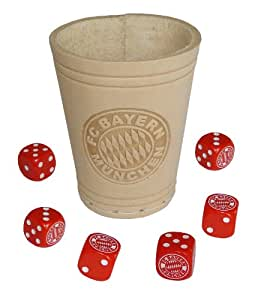 Teepe 17270 – FC Bayern Würfelbecher mit 6 Würfel