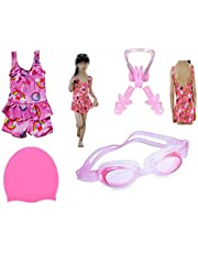 Swimming Costume for Girls with Cap Goggles Ear Plug Nose Clip Swimming Kit