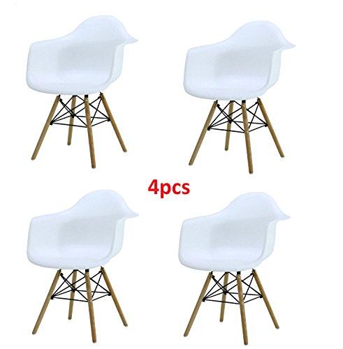 4x Retro Designerstuhl, 4er Esszimmerstühle mit Armlehne, Küchenstuhl mit Lehne & 4 Holz Beinen Design Essstuhl, weiß (Küchenstuhl Retro)