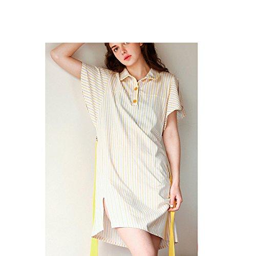 GSHGA Damen Pyjama Baumwollrock Kurzarm-Baumwolle Streifen Druck Damen Fashion Pyjamas Hemdkragen Home-Service Yellow